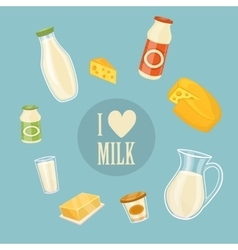 I love milk banner with dairy products vector