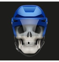 Human skull with ice hockey helmet vector image