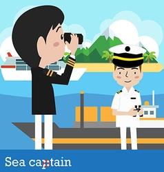 ship captain sailor sea vector image