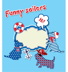 Card with funny scottish terrier dogs - sailors vector