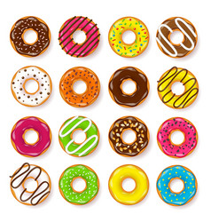 Donut begel with cream cookiescookie cake set vector