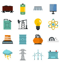 energy sources items icons set in flat style vector image