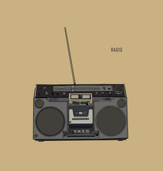 Old retro radio waves tuner sketch vector