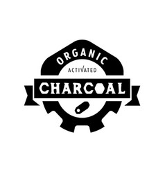 Organic charcoal logo design with gear icon vector