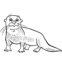 Otter animal cartoon coloring page vector