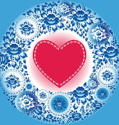 Red heart and blue flowers greeting card vector