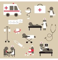 Set of flat design icons on medicine theme vector image