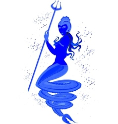 Mermaid with trident in underwater world eps10 vector