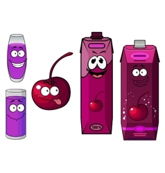 Cherry juice and fruit cartoon characters vector
