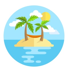 Summer vacation circle icon island with palms sun vector