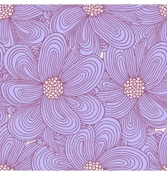 Doodle flowers seamless pattern floral textile vector