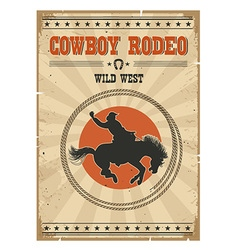 Cowboy horse rodeo posterwestern vintage with text vector
