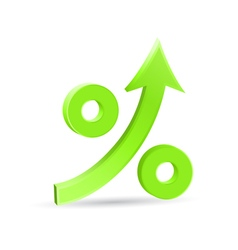 Percent up arrow icon vector