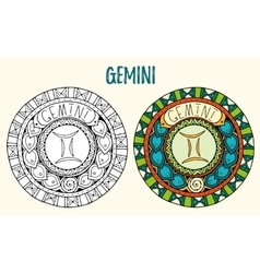 Zodiac signs theme black and white and colored vector