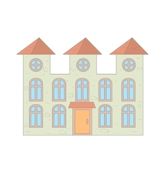 Two storey house with arched windows icon vector