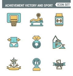 Icons line set premium quality of achiement vector