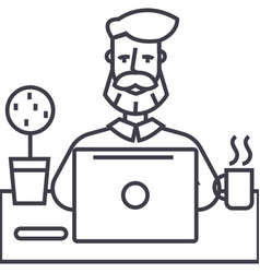 beard man working on table with notebook vector image vector image