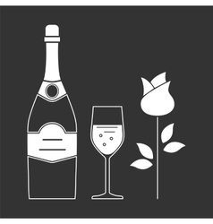 bottle and glass of champagne vector image