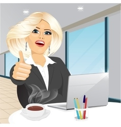 business woman working on laptop vector image vector image
