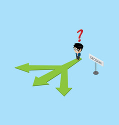 Businessman standing on three directions decision vector