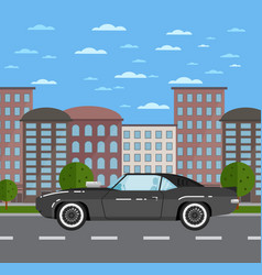classic muscle car in urban landscape vector image vector image