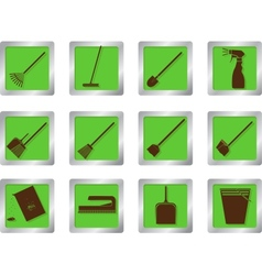 cleaning icons on square buttons vector image vector image