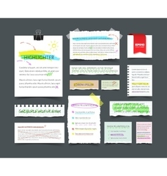 Collection of various blank white paper with text vector image vector image