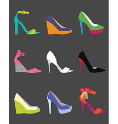 Coloful shoe icon set vector