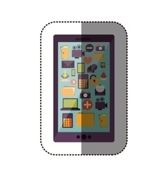 Color sticker with cell phone with screen icons vector