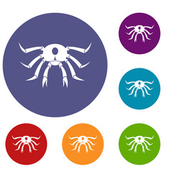 Crab seafood icons set vector