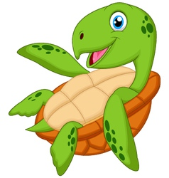 Cute sea turtle cartoon vector image vector image
