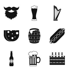 Drunken binge icons set simple style vector