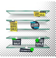 empty supermarket shelves cyber monday sale vector image vector image