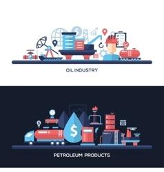 Flat design oil and gas industry website headers vector