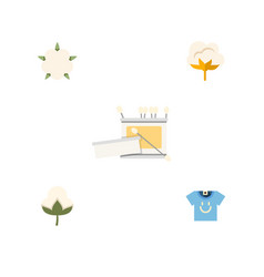 flat icon cotton set of blouse bud knitting and vector image