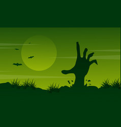 halloween landscape with zombie collection vector image