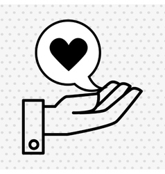 hand and heart black isolated icon design vector image