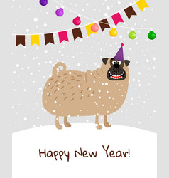 Happy new year dog card vector
