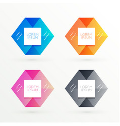 Hexagonal banners set with text space vector