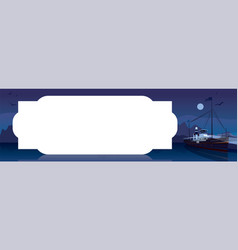 Horizontal template with old ship at night vector