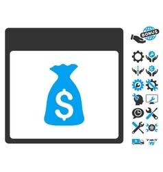Money Bag Calendar Page Icon With Bonus vector image