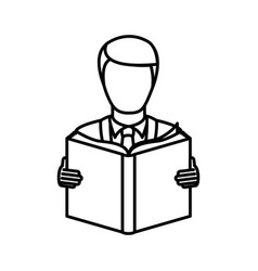 Monochrome contour with man reading a book vector
