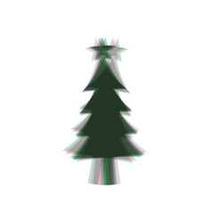 New year tree sign colorful icon shaked vector
