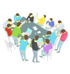 Round-table talks thirteen persons set group of vector