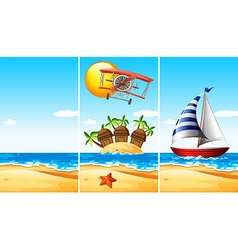 Scene with boat on the sea vector image vector image