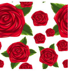 Seamless background template with red roses vector