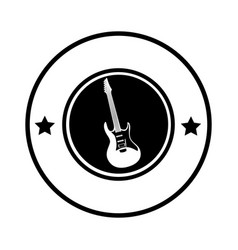 Silhouette circular border with electric guitar vector