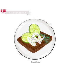 smorrebrod with squid the national dish of denmar vector image vector image