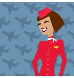 Stewardess people occupation airline advertisement vector image