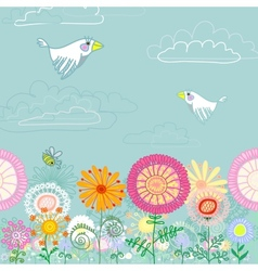 Summer meadow with flowers vector image